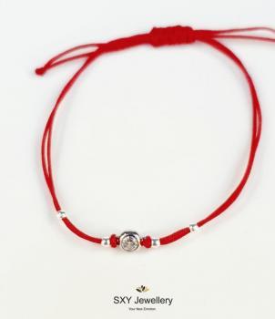 Сребърна гривна с червен конец модел SBT41