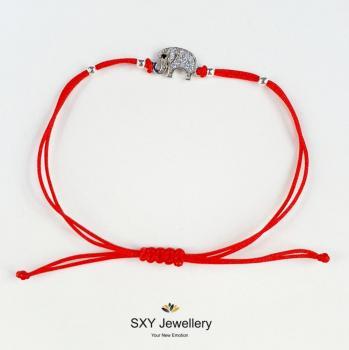 Сребърна гривна с червен конец модел SBT42