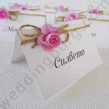 Тейбъл картички с розови розички, модел TK04