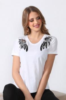 Тениска с ефектни пера от пайети 0918