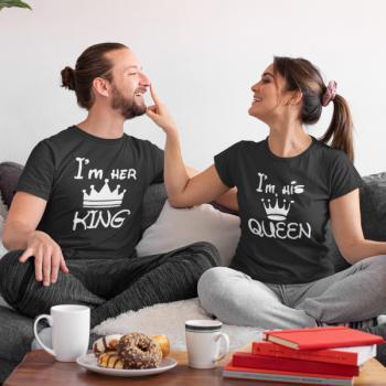 Тениски за двойки King Queen Funny