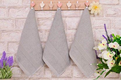 Три броя малки, хавлиени кърпи размер 30/50 сиви - 015