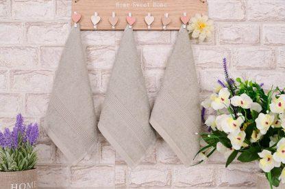 Три броя малки, хавлиени кърпи размер 30/50 - сиво-бежови - 016