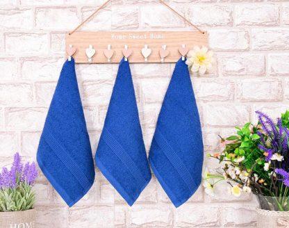 Три броя малки, хавлиени кърпи размер 30/50 - сини - 011