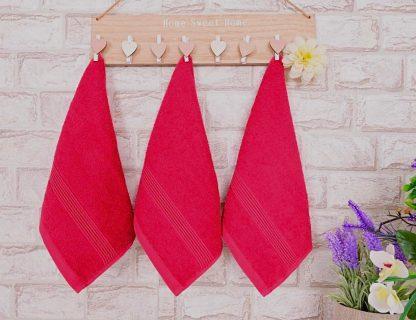 Три броя малки, хавлиени кърпи размер 30/50 - червени - 009