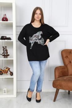 Черна блуза с папагал