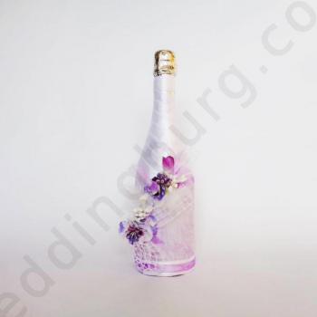 Шампанско за сватба с декорация в лилаво SH032