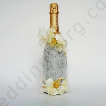 Шампанско с декорация за сватба SH030