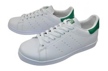 Юношески кецове в бяло със зелено 6