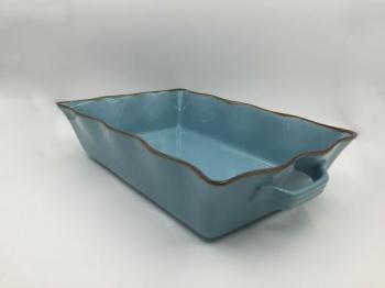 Stoneware petrol color box rectangular